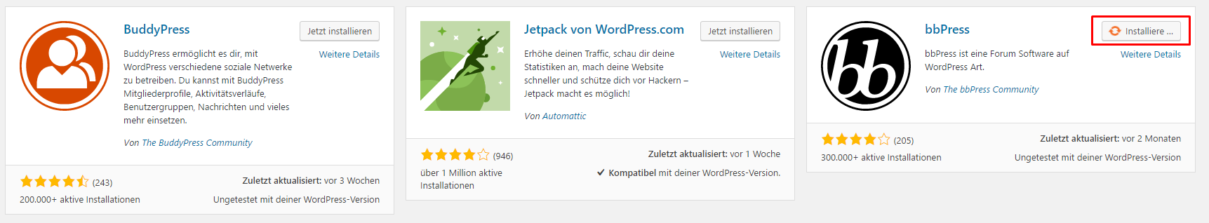 WordPress Plugin installieren - Installationsprozess