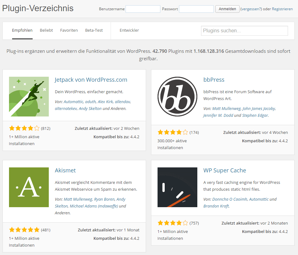 Screenshot des WordPress Plugin Verzeichnis