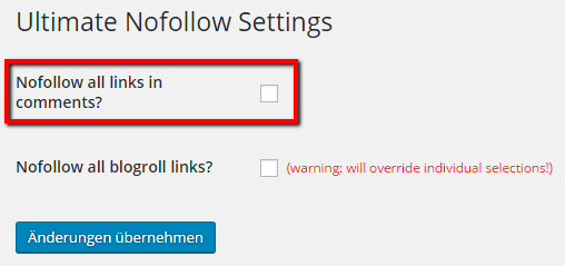 NoFollow Links in Kommentaren entfernen mit Ultimate NoFollow Plugin