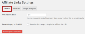 Affiliate Links Plugin - Settings bzw. Einstellungen vornehmen
