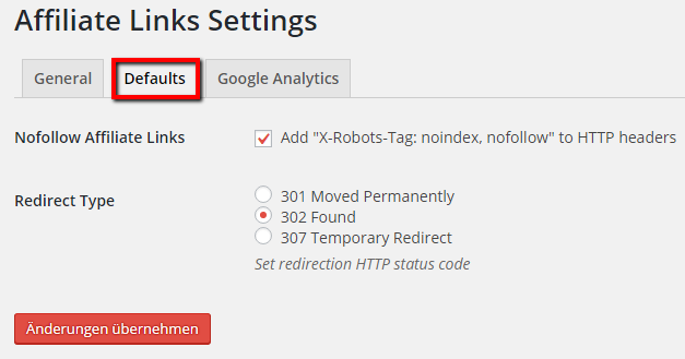 HTTP Statusodes & Redirects für Affiliate Links festlegen