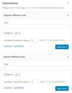 Affiliate Links in WordPress Widgets anzeigen lassen