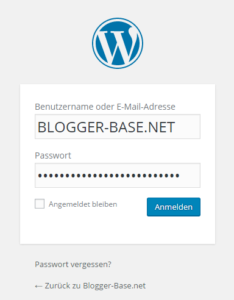 WordPress Theme über Dashboard installieren - Login