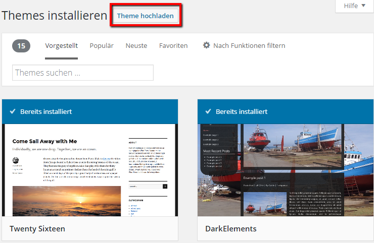 WordPress Theme manuell hochladen
