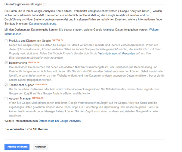Datenfreigabe in Google Analytics festlegen
