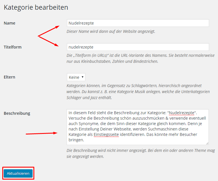 Kategorien in WordPress optimieren