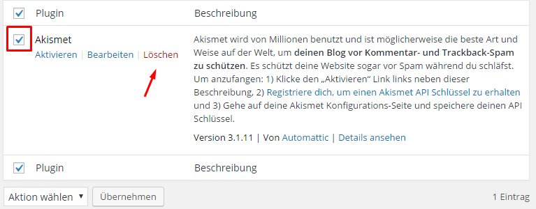 WordPress Plugins deinstallieren