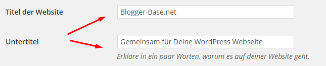 Seitentitel nach der Installation von WordPress festlegen