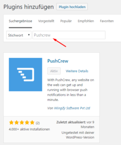 PushCrew WordPress Plugin hinzufügen.
