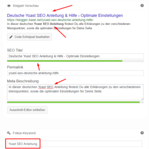 Das Focus Keyword in der Yoast SEO Metabox.