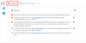 Lesbarkeits-Analyse in der Yoast SEO Meta Box